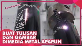 Cetak Barcode Tulisan dan Gambar di Media Metal Stainless Baja
