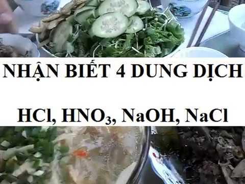 bài toán nhận biết 4 dung dịch HCl, HNO3, NaOH, NaCl