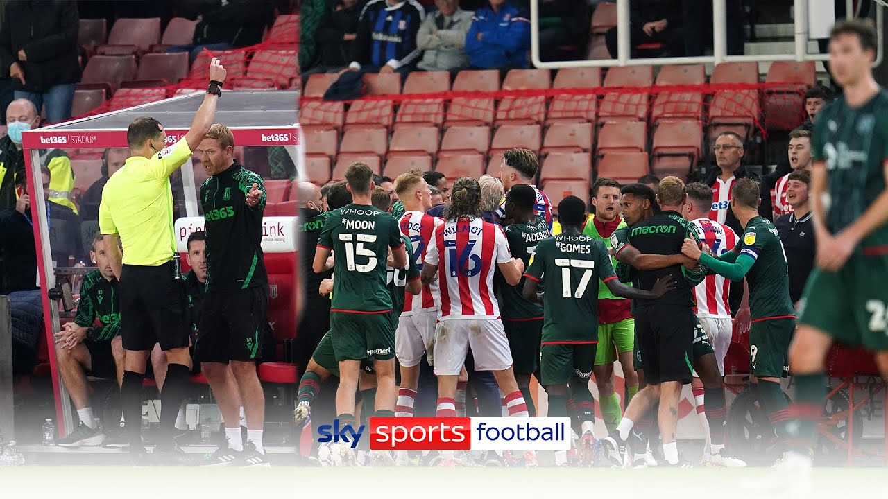 Three coaches sent off after touchline bust-up in closing minutes of Stoke-Barnsley! 🟥😮