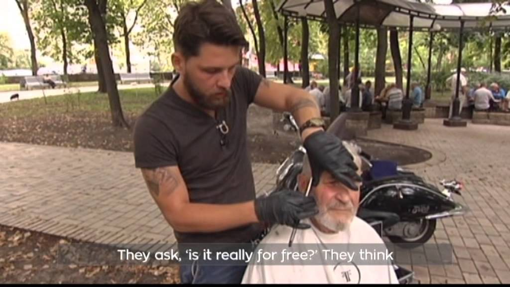Free Haircuts For Homeless In Kyiv High End Barber Looks For Those