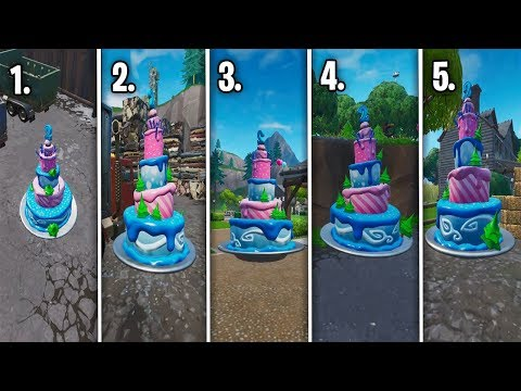 ALL Birthday Cakes Locations Of Fortnite 2nd Birthday Challenge..!(Fortnite Battle Royale)