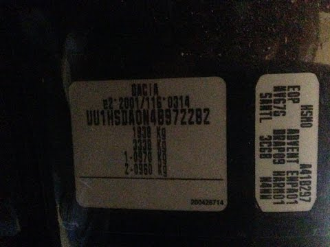 Dacia Duster VIN Code Label