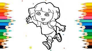 Coloring Dora The Explorer Coloring Book Colored Markers | How to draw Dora [1080p] Art Bear
