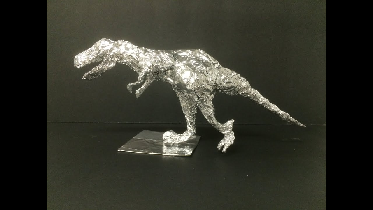 t rex with aluminum foil paper youtube. Black Bedroom Furniture Sets. Home Design Ideas