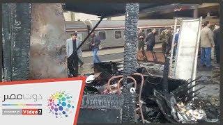 اللقطات الأولي لحادث حريق محطة مصر