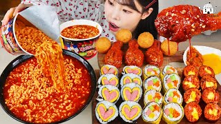 ASMR MUKBANG SOUPY FIRE NOODLES, 3-flavored kimbap, seasoned chicken, cheese ball, eating