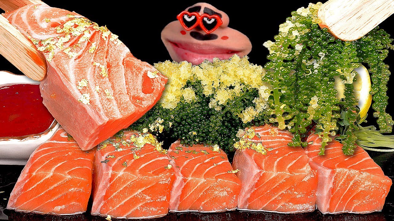 ASMR SALMON SASHIMI, SEA GRAPE, FISH ROE, 연어회, 바다포도, 날치알 먹방 Seafood Mukbang Eating Sound