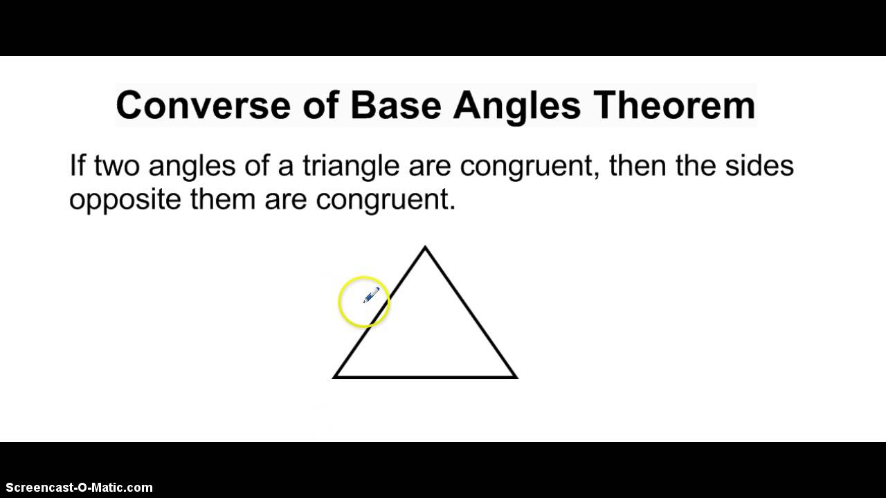 Right Angle Base : Converse of base angles theorem youtube