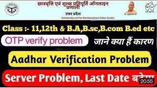 UP Scholarship Aadhaar authentication & OTP verify problem || जाने क्या हैं कारण B.ed ,B.A ,B.sc etc