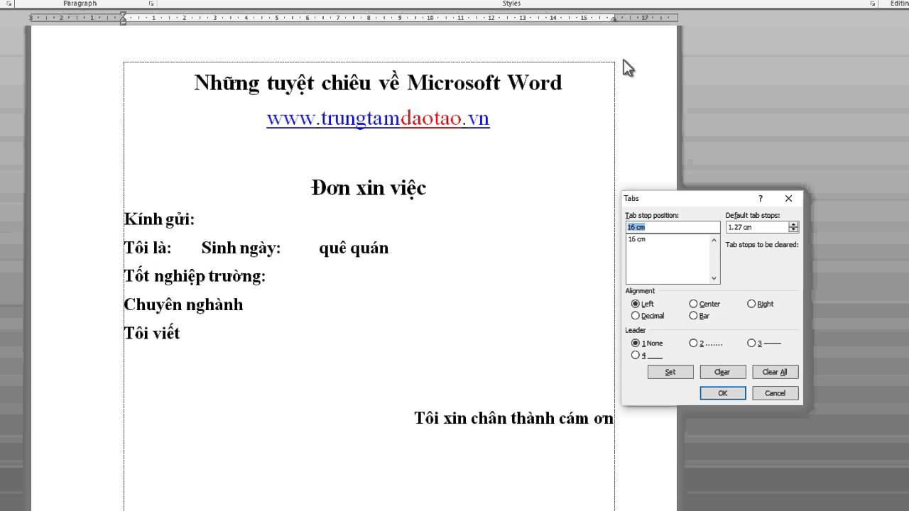 Cách đặt TAB cho văn bản word