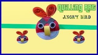 art & craft: paper quilling angry bird rakhi