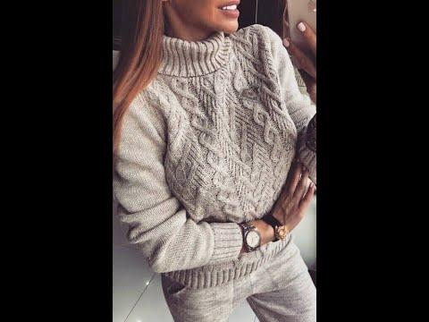 Пуловер женский связанный спицами