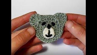 Аппликация крючком - Мишка. Мастер-класс для начинающих / Сrochet bear applique Tutorial