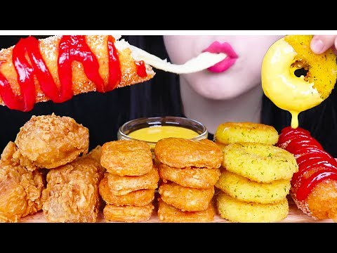 MOST POPULAR FOOD FOR ASMR *CHEESY CORN DOG, CHICKEN NUGGETS, FRIED CHICKEN, CHEESE RINGS