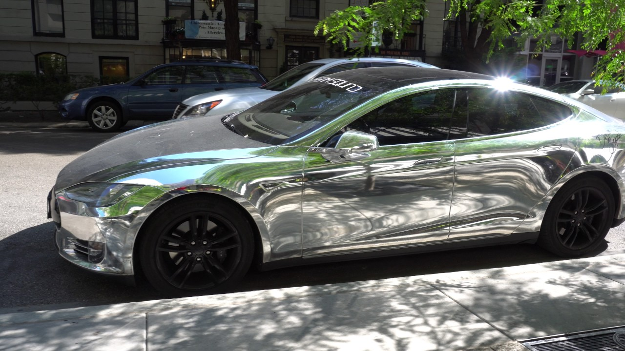 Chrome Car Wrap >> Chrome Wrapped Tesla Model S in Chicago - YouTube