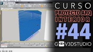 3ds Max Proyecto Arquitectura Interior 44 Persianas y cortinas. Fondo Ciudad