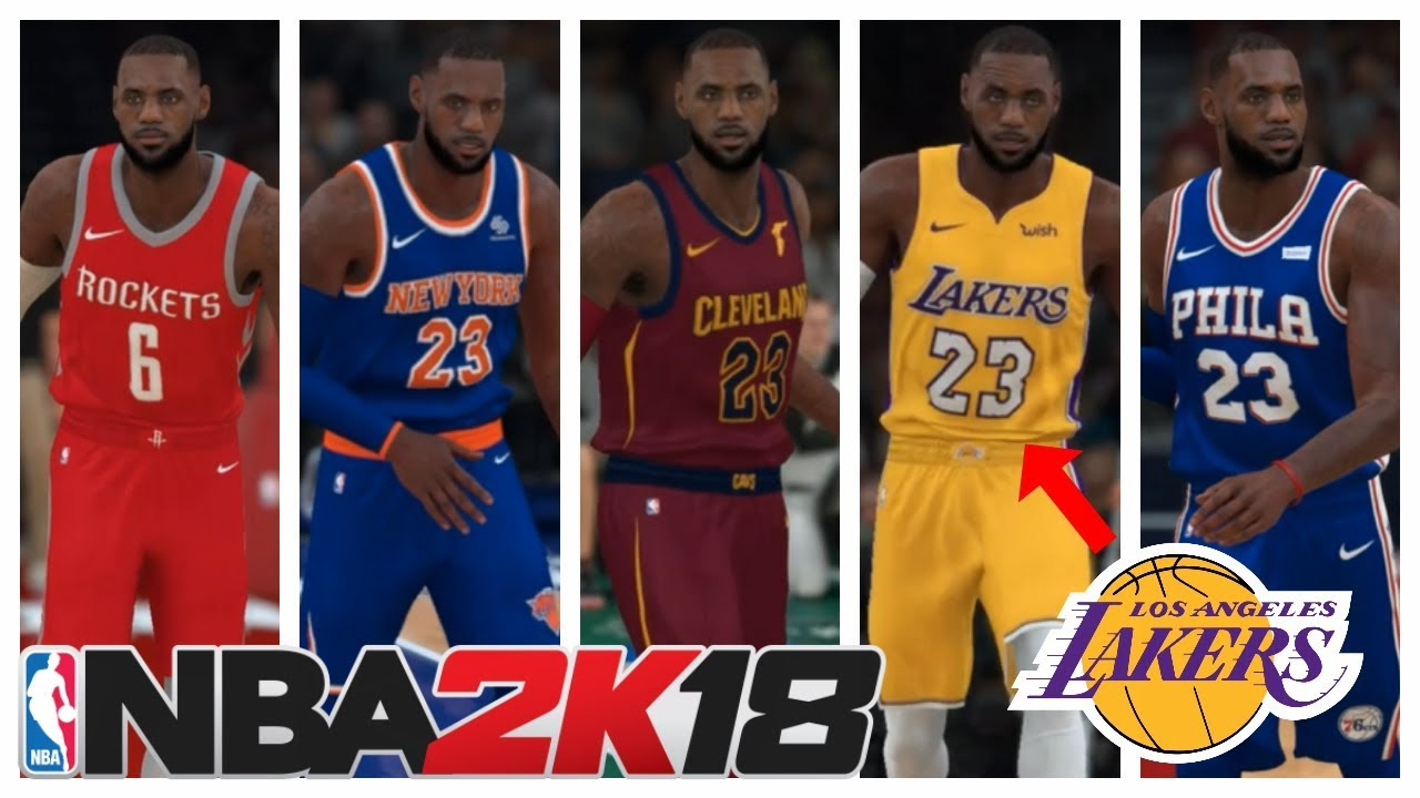 Nba 2k18 Lebron James In Every Nba Jersey Lebron To Lakers