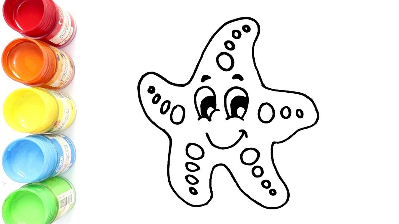 Belajar Menggambar Dan Mewarnai Bintang Laut Untuk Anak