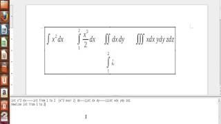 Digitação de integrais e limites no fórmula do Libre Office