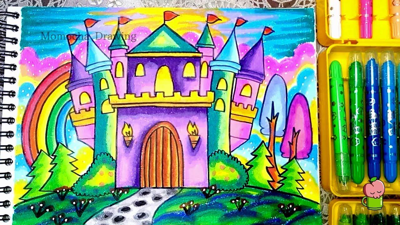 cara menggambar dan mewarnai istana tips menggambar bagus gradasi oil pastel