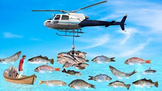 हेलीकाप्टर मछली का शिकार Helicopter Fish Hunting Comedy Video हिदी कहानिय Hindi Kahaniya Funny Story