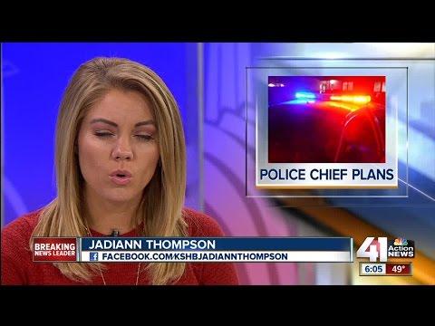 Kansas City Police Chief Darryl Forte talks with Jadiann Thompson