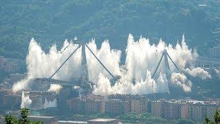 Italian engineers blow up Genoa bridge towers