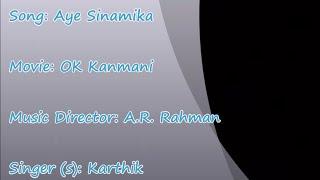 Aye Sinamika - OK Kanmani - ARR- MALE - Karaoke tamil song | HQ HD |
