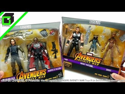 Avengers Infinity War Marvel Legends Toys R Us Exclusive Thor, Rocket, And Groot Winter Soldier