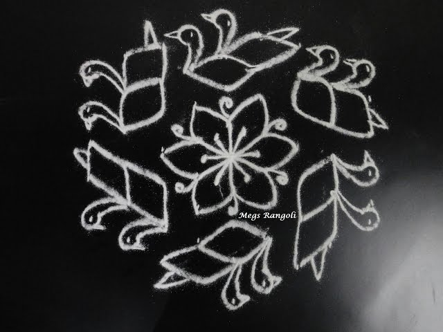 Creative and Simple Duck Rangoli   Vathu pulli Kolam   baathu Muggulu #06
