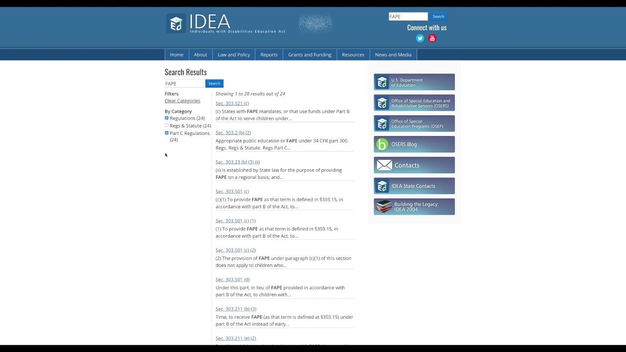 IDEA Website | Statute/Regulations