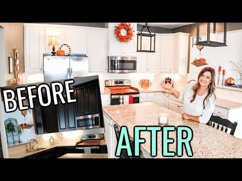 PAINTED KITCHEN CABINETS BEFORE AND AFTER   ESPRESSO TO WHITE CABINETS   AND FALL DECORATING