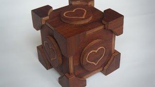 Portal Companion Cube Wooden Puzzle Box