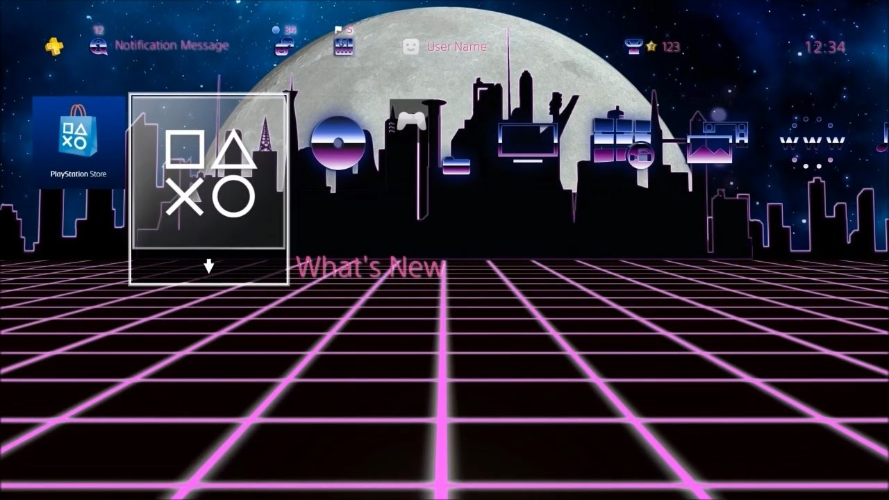 80's Synthwave - PlayStation 4 Dynamic Theme
