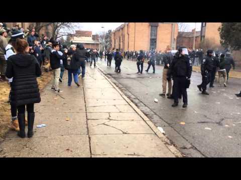 Fire, Arrests At Michigan State University Basketball Celebration In East Lansing (vulgar Language)