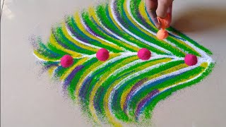 Very easy and beautiful cute and quick rangoli design