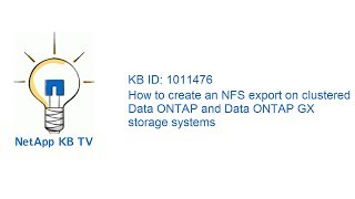 How to create an NFS export on clustered Data ONTAP and Data ONTAP GX storage systems