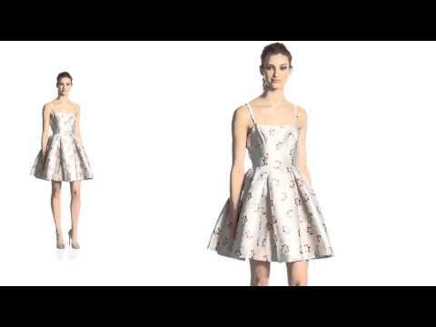 Erin Fetherston Dress: Sabrina Metallic Cherry Print Flared Dress