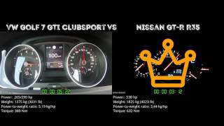 VW Golf 7 GTI Clubsport vs. Nissan GT-R R35 - the 0-100 km/h duel. ...