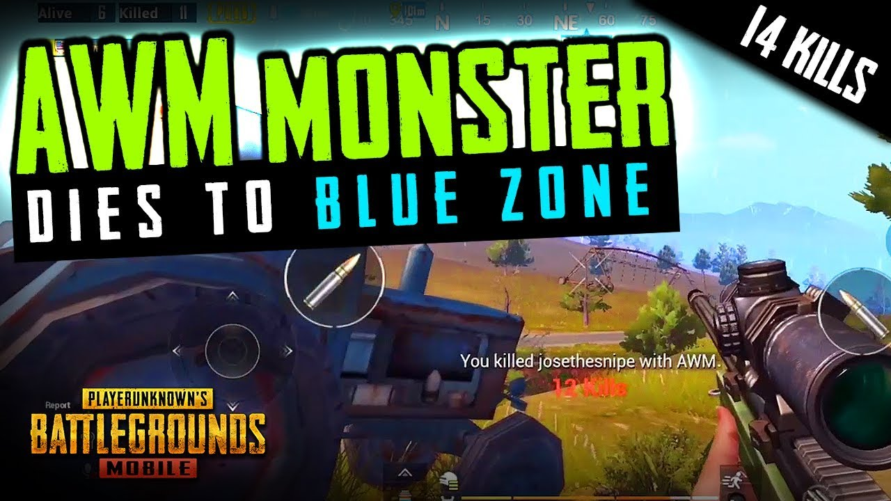 PUBG MOBILE AWM MONSTER DIES To BLUE ZONE LIKE AN IDIOT