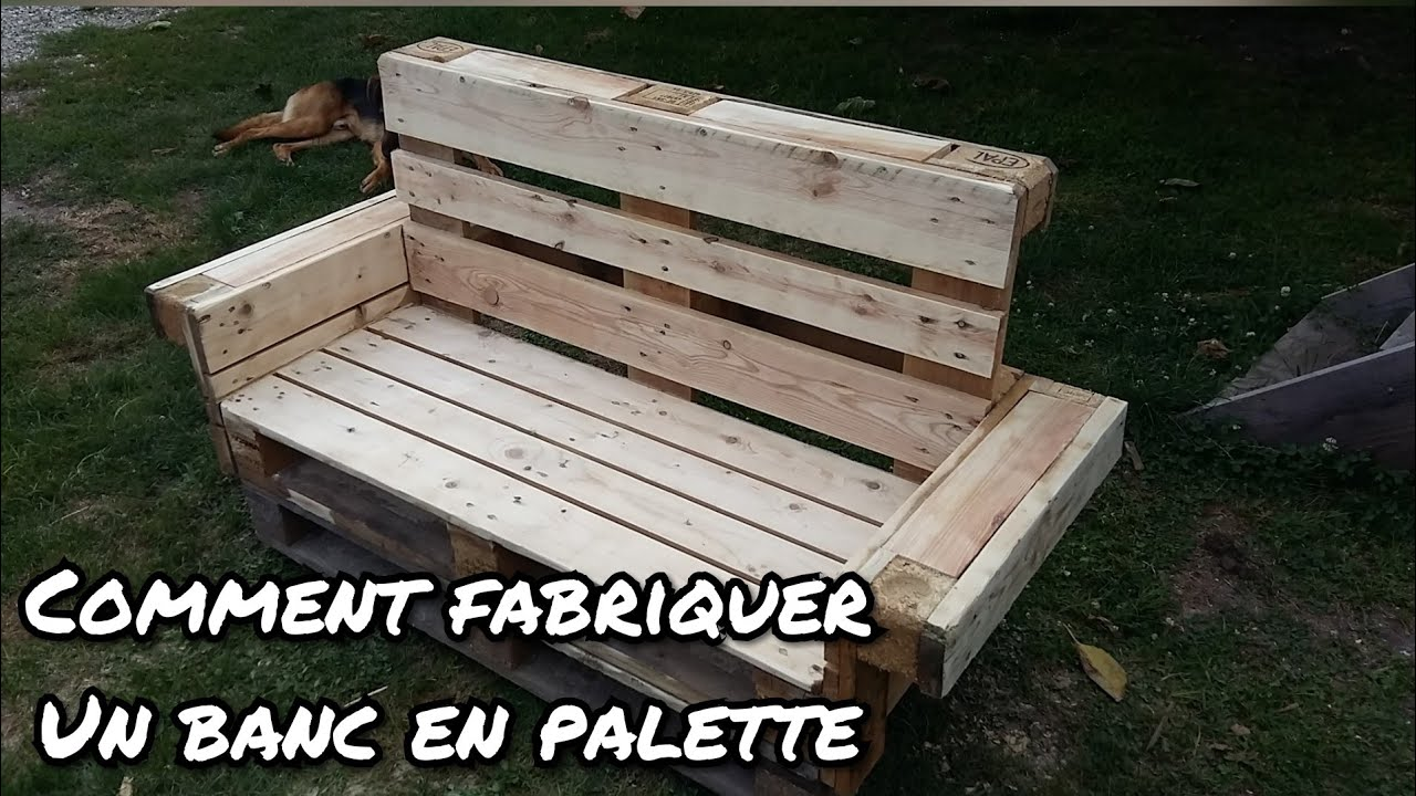 comment faire un banc en palette youtube. Black Bedroom Furniture Sets. Home Design Ideas