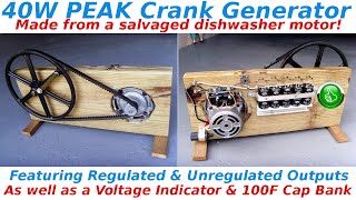 40W Peak Crank Generator With 100F Ultracapacitor Bank Video