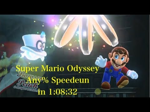 Super Mario Odyssey: Any% Speedrun in 1:08:32 【World Record at 017/11/20】