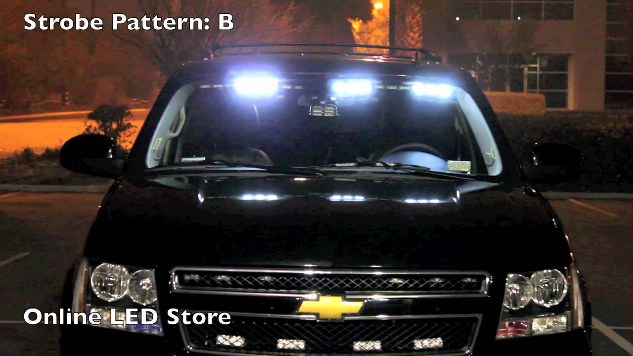 Vehicle Strobe Lights >> 54 Led Front Headliner Emergency Strobe Pov Lights Amber White