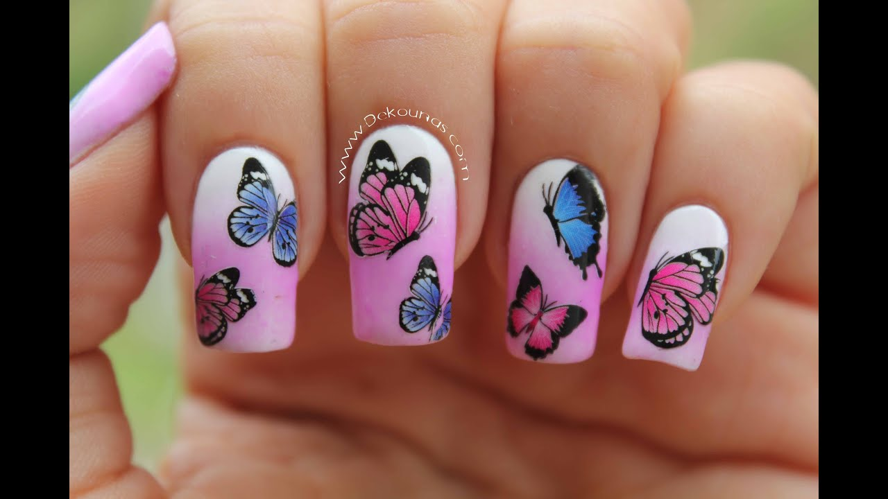 Decoraci n de u as con mariposas butterfly nail art for Decoracion de unas de rosas