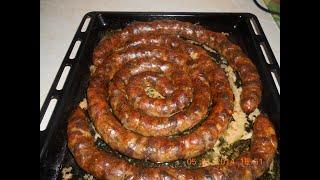 Домашняя свиная колбаса запечённая в духовке.К праздничному столу!