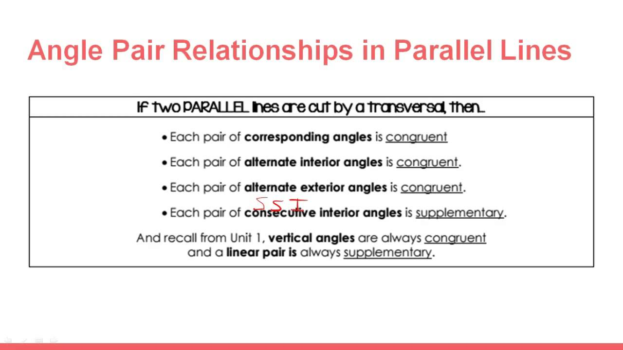 Angle Pair Properties & Parallel Lines - YouTube