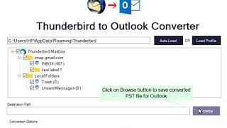 SysBud Thunderbird to Outlook converter exports TB mailboxes in PST format