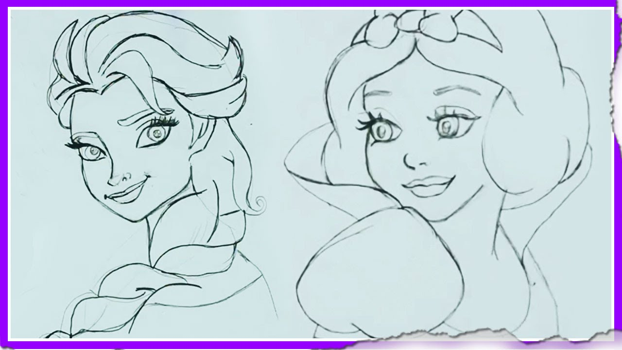 How To Draw Disney Princesses Drawing Tutorial Cartoon Collection By Hooplakidz Doodle Youtube