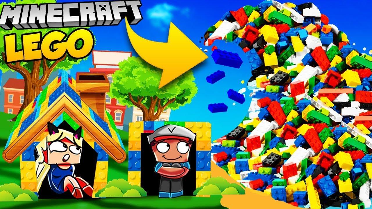 Baza Vs Lego Tsunami Minecraft Tsunami Challenge Vito Vs
